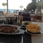 Rib eye steak with a good view