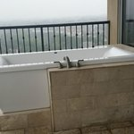Soaking tub on the balcony