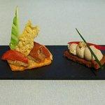 Sablé parmesan - caviar d'aubergine - tartine rillettes sardine fraîche