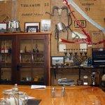 Memorabilia on display in corner of bar/restaurant