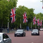 Union Jack flags along the Mall