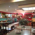 Comfortable dining, modern atmosphere.