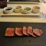 Wagyu beef with condiments