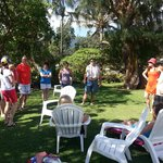 Friends and family meet up in the garden at Nani Kai Hale