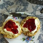 Banana scone, clotted cream and jam