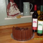 Home made birthday cake with Shad own wine, what more could you ask for