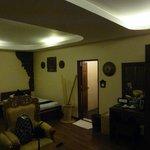 Spacious room with the bathroom door