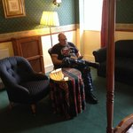 Hubby relaxing in room 203.