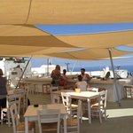 Beautiful afternoon under the sails on Santorganics rooftop patio - perfect!
