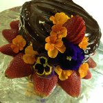 Dark Chocolate Strawberry Cake with flowers from our garden