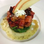 Super Stack with Wilted Spinach, Roasted Root Veggies Chevre and Apples