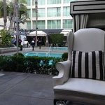 Leather chairs & cabanas on patio