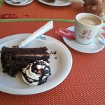Chocolate cake and coffee