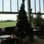 Subtle christmas tree in the bar seating area