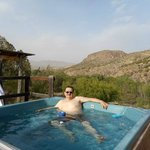 Relaxing in the hot tub after a day of hiking.