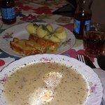 Zurek (soup), pork roast, and potatoes