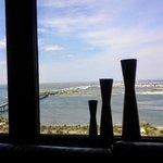 vases in bay window, 25th floor