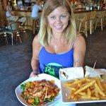 Asian Chicken Salad, Chicken Schnitzel Wrap, and Friendly Waiter