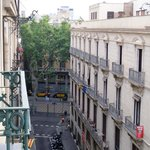 Las Ramblas down the street (view from our room)