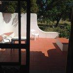 uitzicht op het terras van de bungalow