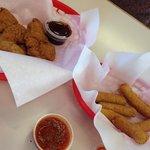 Chicken tenders and mozzarella sticks
