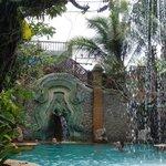 falling water near the pool