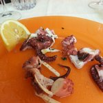 First hot octopus salad. Lunchtime in Venice