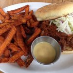 pulled pork sandwich and sweet potato fries