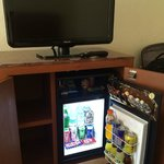Camino Real minibar and TV.