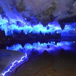 Reed Flute Cave (Ludi Yan) Part of light show looking over lake