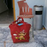 Our friend Charlie the chair with his beach bag