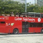 O onibus do city tour na parada inicial