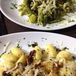 Gnocchi with walnuts and pesto pasta