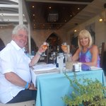 enjoying a meal at the Kalypso restaurant