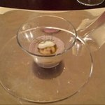 Small entree: Calamari mousse with gnocchi and cream cheese.