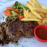 Huuuuge fillet steak! Garlic sauce just makes the meal!