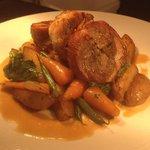Confit pork belly.. Sautéed potatoes,curly kale, chantenay carrots, green beans, Dijon mustard &