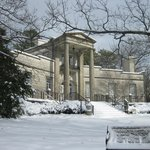 The mansion on a wintery day.