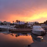 Beautiful sunset behind the yacht club