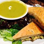 Chicken sandwich and pea/mint soup