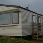 View of cliff side static caravan