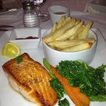 Salmon with fresh cut fries, sauteed kale and carrot