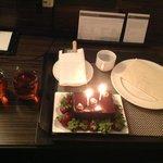 The midnight birthday cake n strawberries!