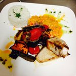 Swordfish, roasted Mediterranean vegetables, steamed rice & piri piri sauce.