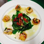 Seared, smoked paprika scallops, Asian herb salad, Japanese style dressing.