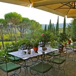 Dining outdoors at Castello di Spaltenna