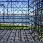 View of Boston Harbor through the pavilion.
