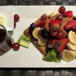 farm house waffles with fruit and chocolate chips (brunch)