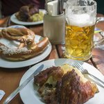 Bavarian Pretzel, Chicken quarter and pork knuckle.