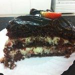 Fatia da Torta de Morango com Chocolate